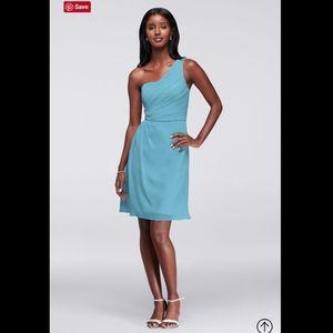 NWT DAVID'S BRIDAL Chiffon One-Shoulder Dress 22